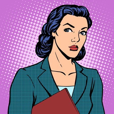 Illustration pour Businesswoman successful woman pop art retro style - image libre de droit