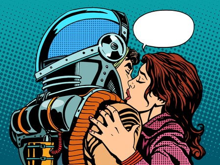 Photo pour Star kiss the wife of an astronaut pop art retro style - image libre de droit