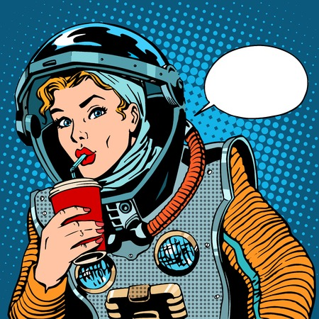 Illustration for Female astronaut drinking soda pop art retro style - Royalty Free Image