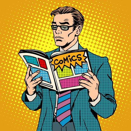 Illustration pour man reads comic book pop art retro style. Adult businessman with glasses opened the magazine illustrations. A man stands. The concept of reading and the comic book store - image libre de droit