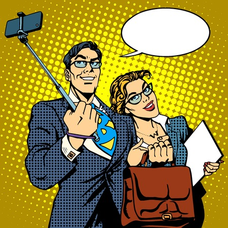 Ilustración de Selfie stick businessman and businesswoman photo smartphone pop art retro style. Couple man and woman friendly photo - Imagen libre de derechos