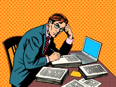 Illustration pour Writer editor journalist academic thesis paper laptop pop art retro style. A stack of documents. Office work - image libre de droit