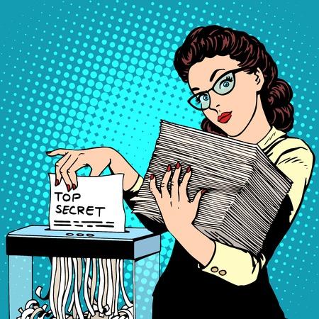Ilustración de Paper shredder top secret document destroys the Secretary pop art retro style. The policy of the government security services document storage security data. Businesswoman politician - Imagen libre de derechos
