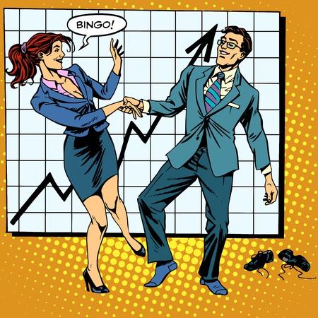 Illustration pour Bingo financial success dance business pop art retro style. Man and woman happily dancing. Graph of growth and profit. - image libre de droit