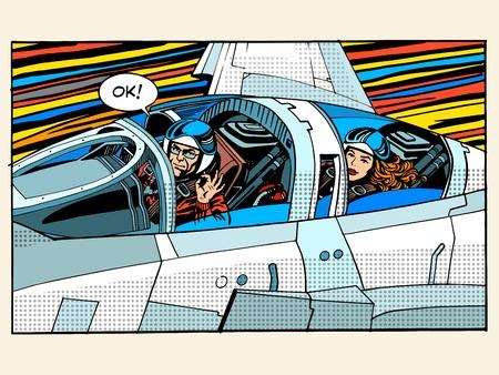 Ilustración de fighter plane pilot man woman success aviation pop art retro style. The pilot testers. Sport aircraft. Military aircraft. Business concept success and height - Imagen libre de derechos