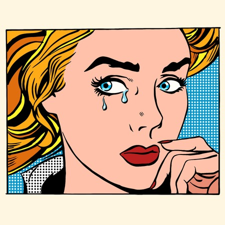 Illustration pour Girl crying woman face. Pop art retro style. Caucasian people coarsely face image. Human emotions - image libre de droit