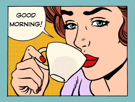 Foto de Good morning girl with Cup of coffee pop art retro style. Beautiful woman having Breakfast in the morning - Imagen libre de derechos