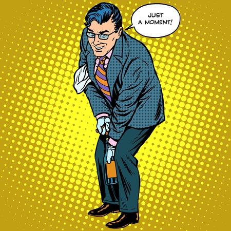 Ilustración de A man opens a bottle of champagne holiday celebration pop art retro style - Imagen libre de derechos