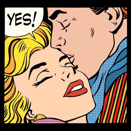 Illustration pour Couple love Yes pop art retro style. A man kisses a woman. Relationship and romance - image libre de droit