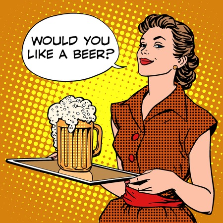 Photo pour The waitress beer on a tray pop art retro style. Beer festival or a restaurant. Alcoholic beverages. Would you like a beer - image libre de droit