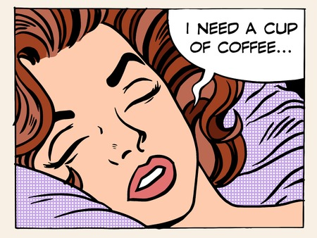 Ilustración de A woman dreams of the morning Cup of coffee pop art retro style. The girl wakes up. Refreshing Breakfast drink. I need a cup of coffee - Imagen libre de derechos