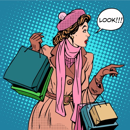 Illustration pour Woman shopping buy discounts look pop art retro style. Holiday sale stores and shopping malls. Girl Shopaholic. The interest in new products - image libre de droit