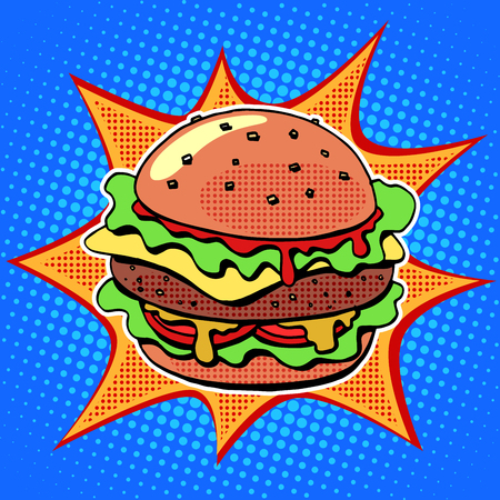 Ilustración de Fast food Burger with sesame meat salad and cheese pop art retro style. Healthy and unhealthy food. Restaurant business. Colorful image of a sandwich on a retro background in the style of comics - Imagen libre de derechos
