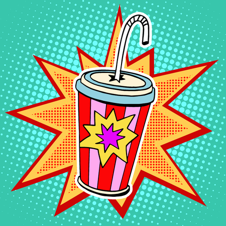 Illustration pour Cola paper cup straw fast food pop art retro style. Restaurants and entertainment. Sweet refreshing in the heat of the drink. Childhood and joy. Advertising poster retro background in the style of a comic book - image libre de droit