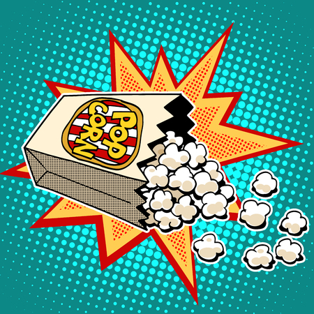 Illustration for Popcorn sweet and savory corn pop art retro style. Fast food in the cinema. Healthy and unhealthy foods. Childhood and entertainment - Royalty Free Image