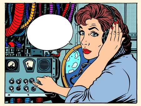 Illustration pour Girl radio space communications with astronauts pop art retro style. The mission control center. Manager flights. Science fiction space and planets - image libre de droit