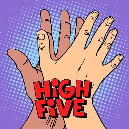 Illustration pour high five greeting white black hand pop art retro style. A gesture of greeting. The hands of man. Anti racism anti-fascism symbol. - image libre de droit