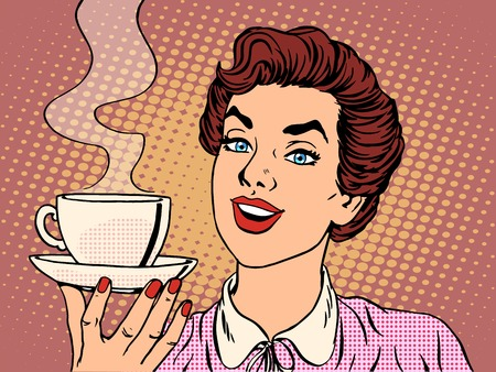 Illustration pour Girl with Cup of coffee pop art retro style. Restaurants and coffee shops. A hot beverage. Courage love and care - image libre de droit