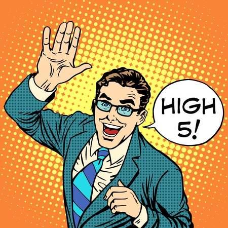 Illustration pour High five joyful businessman pop art retro style.  - image libre de droit