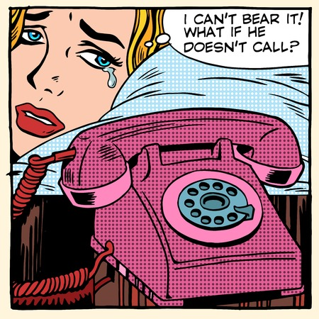 Ilustración de The woman is crying and waiting for a call pop art retro style. Love fellowship suffering romantic relationship problems. Phone technology and communication - Imagen libre de derechos