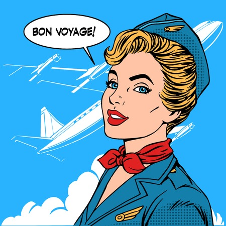 Ilustración de Bon voyage stewardess airplane travel tourism pop art retro style. Business concept success. Aviation transportation and flights - Imagen libre de derechos