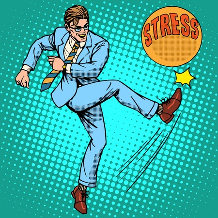 Illustration pour Man hits ball with name stress pop art retro style. Hard work. Optimistic worker - image libre de droit