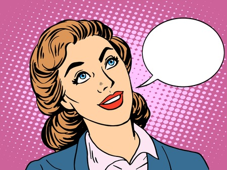 Illustration pour businesswoman interested in communicating pop art retro style. Beautiful business woman dialogue conversation. Your brand here - image libre de droit
