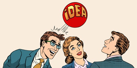Illustration pour Brainstorming business team concept to develop the idea pop art retro style. Businessmen and a businesswoman playing with a ball with inscription idea. - image libre de droit