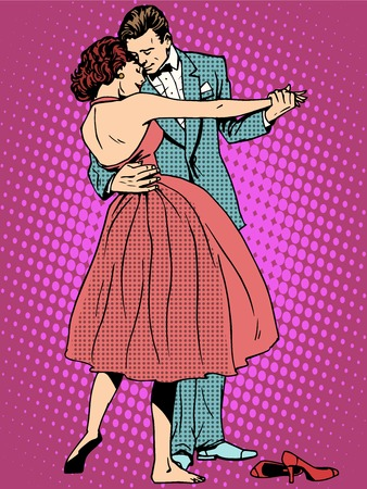 Photo pour Wedding dance lovers man and woman pop art retro style. Feelings emotions romance. Art music ringtones. Girl and marriage. Couple dancing - image libre de droit