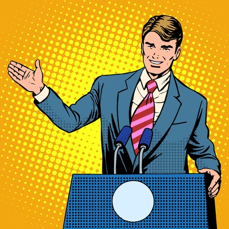 Illustration pour Policy candidate in the elections pop art retro style. The man at the podium speaks. Election promises - image libre de droit