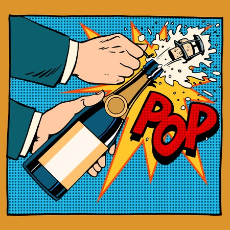 Ilustración de opening champagne bottle  pop art retro style. Wedding, anniversary, birthday or new year. Alcoholic beverages wine and restaurants. Drink. Explosion foam tube moment of triumph. Your brand here - Imagen libre de derechos