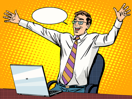 Ilustración de Businessman success working on laptop pop art retro style. Computers and office work. Man and modern technology - Imagen libre de derechos
