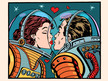 Illustration for Kiss space man and woman astronauts pop art retro style. Valentines day, wedding and love. A girl and a boy. Science and the cosmos. - Royalty Free Image