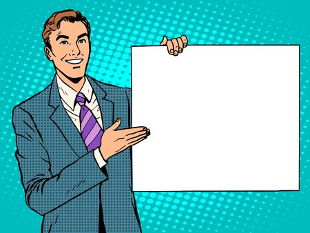 Illustration pour businessman advertising announcement your brand here pop art retro style. Your text here. Man promotional poster - image libre de droit