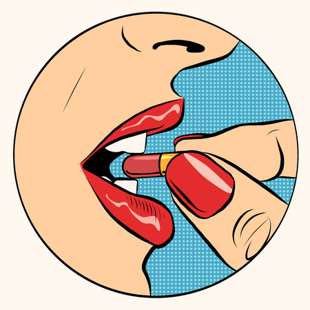 Illustration pour Taking the pill medication pop art retro style. A woman takes the pill. Medicine, pharmacology and health - image libre de droit