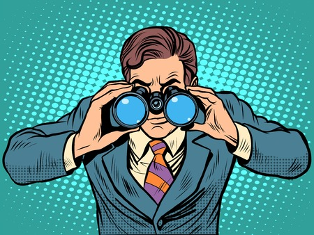 Illustration for Businessman looking through binoculars. Lead vision Navigator pop art retro style. Business concept vision of the future - Royalty Free Image