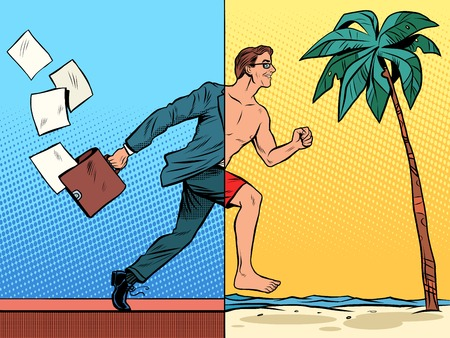 Illustration pour Businessman dreaming about the rest pop art retro style. Beach sea tourism tropics. Office work business concept. Vacation travel joy - image libre de droit