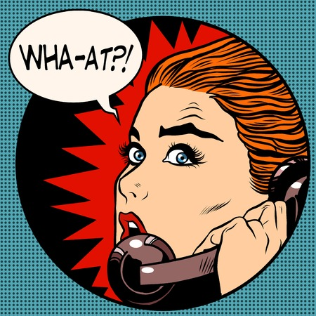 Illustration pour what a woman speaks on the phone pop art retro style. Question. Unexpected news, gossips. Communication and technology - image libre de droit