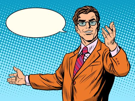 Illustration pour businessman welcome business concept pop art retro style. The man invites - image libre de droit