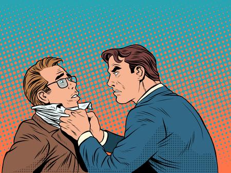 Ilustración de Conflict men fight quarrel businessman pop art retro style. Emotions and crime. The customer and the businessman - Imagen libre de derechos