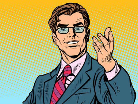 Illustration for Friendly man businessman pop art retro style. Retro businessman. Vector illustration - Royalty Free Image