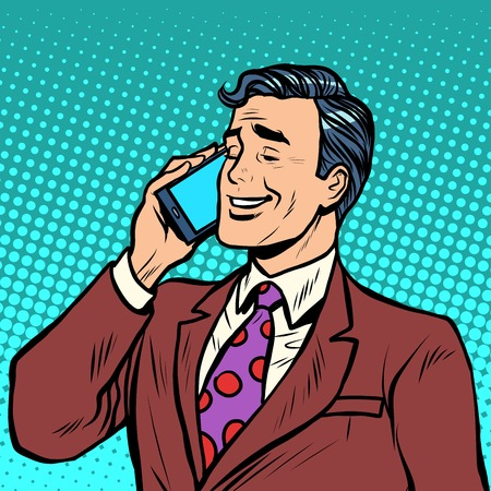Ilustración de Businessman talking on the phone pop art retro style. Smartphone and communications. Modern technology - Imagen libre de derechos