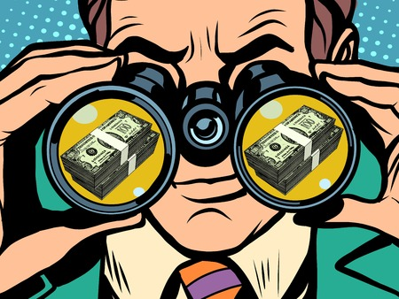 Illustration pour Man and money pop art retro style. Hunger and food. Man looking through binoculars. Business and Finance - image libre de droit