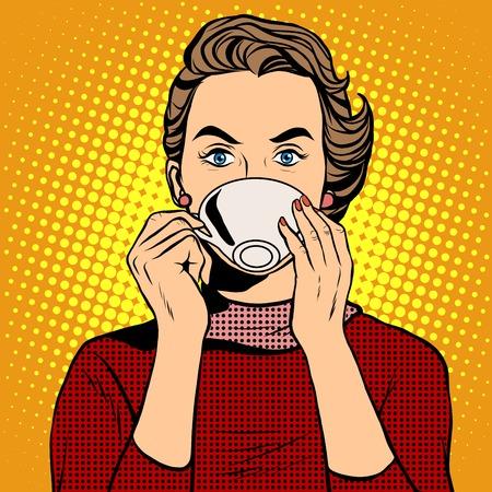 Ilustración de Girl drinking coffee pop art retro style. A hot beverage. Coffee or tea - Imagen libre de derechos