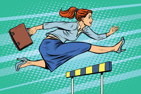 Illustration pour businesswoman running hurdles pop art retro style. A woman in business. Competition and work. Career - image libre de droit