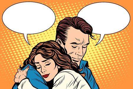 Ilustración de couple man and woman love hug pop art retro style. Retro people vector illustration. Feelings emotions romance - Imagen libre de derechos