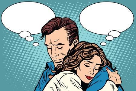 Illustration pour couple man and woman love hug pop art retro style. Retro people vector illustration. Feelings emotions romance - image libre de droit