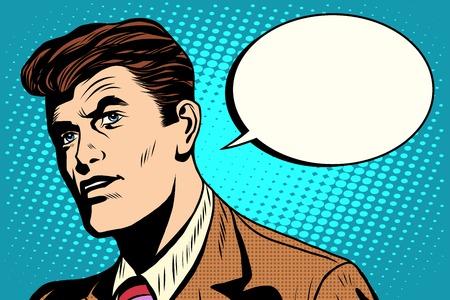 Illustration pour man asks retro comic bubble pop art retro style. Business dialogue. Business vector - image libre de droit