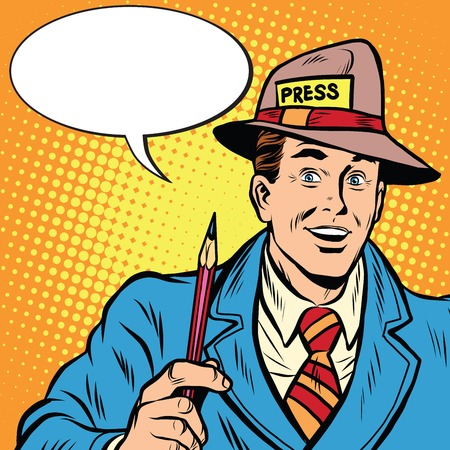 Illustration pour Positive retro journalist interviews press media report pop art retro style. A media industry. Policy and news - image libre de droit