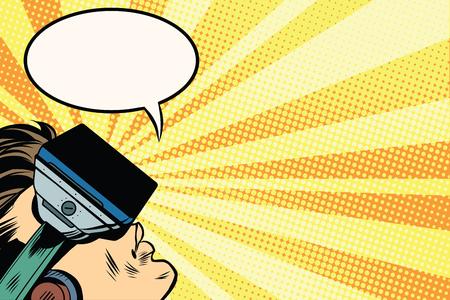 Foto de Man with glasses virtual reality pop art retro vector. New technology virtual reality. Games and entertainment. vr glasses vector - Imagen libre de derechos